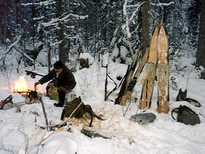 A hunter in winter camp